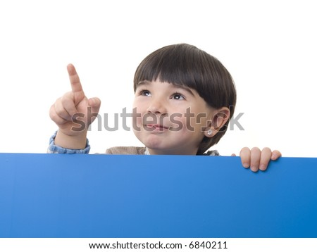 Child holding an empty sign over a white background - stock photo