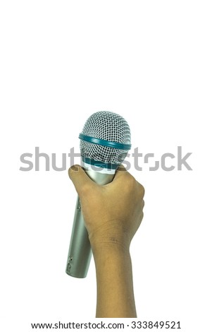 Child holding microphone with isolated white background - stock photo