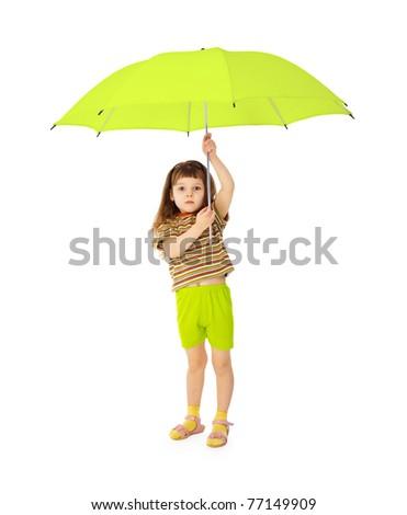 Child holds big green umbrella - stock photo
