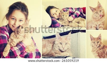 child hugging a kitten - stock photo