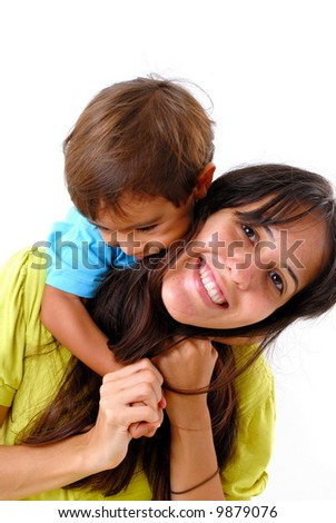 Child hugging a Woman on white background .