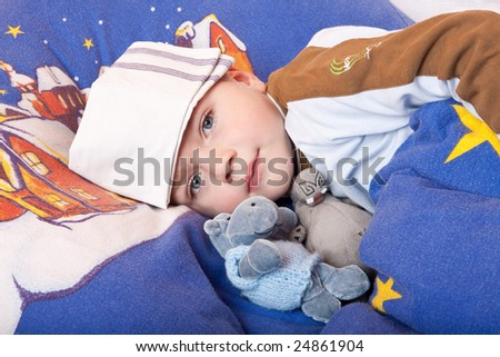 child ill sick bed - stock photo