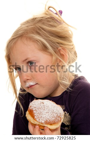 Child in a carnival, with donuts. Donuts. Against a white background
