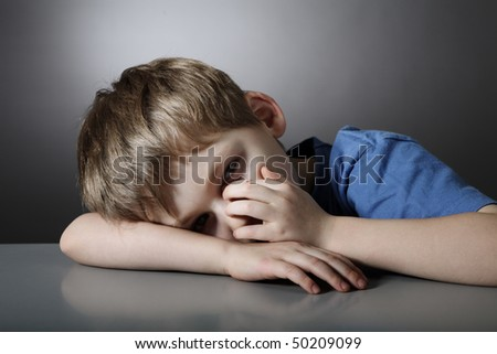 Child  in depression - stock photo