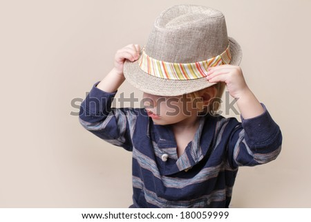 Child in fedora fat, fashion or clothing concept