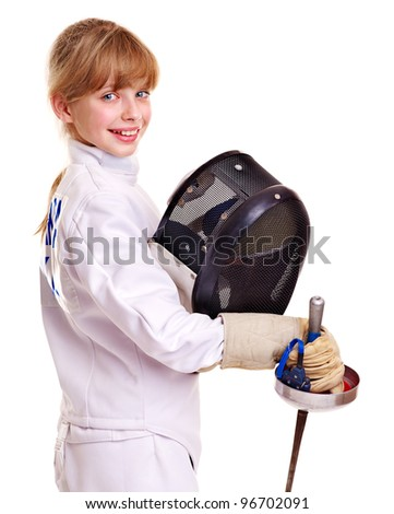 Child in fencing holding epee . Isolated. - stock photo