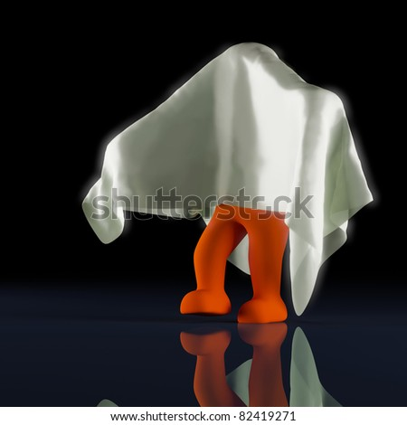 child in halloween ghost costume - stock photo
