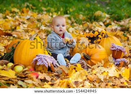 Child in knitted sweater sits among pumpkins in autumn park