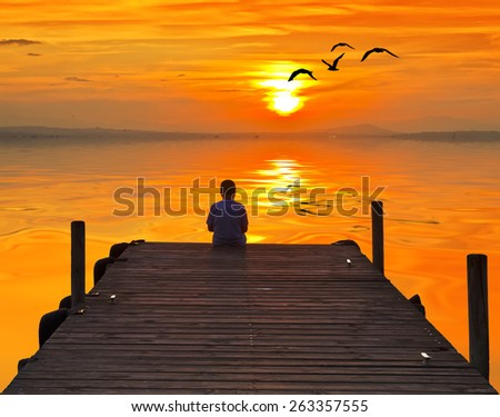 child in Lake Pier - stock photo