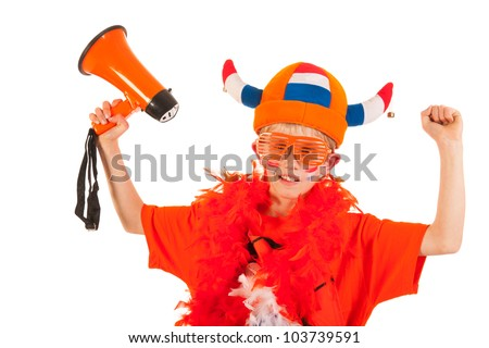 Child in orange with megaphone as Dutch soccer supporter - stock photo