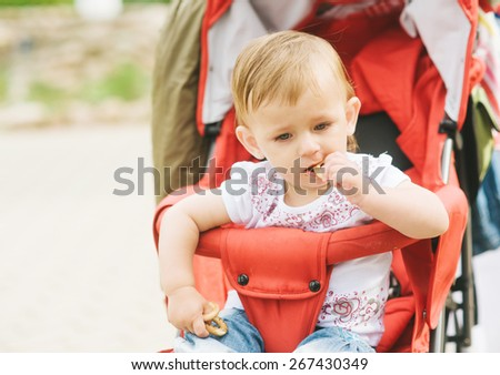 Child in pram nature outdoors