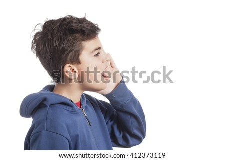 child in profile shouting - stock photo
