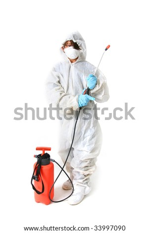 Child in protective suit with mask and spray with poison or pesticide isolated on white - stock photo