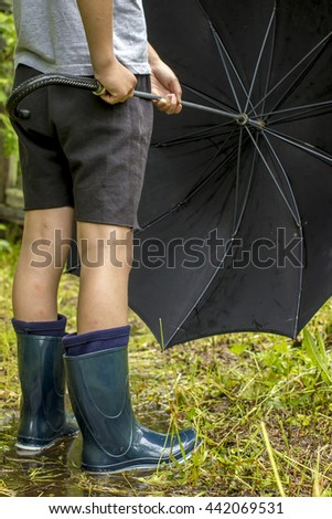 Child in rubber boots stands on a footpath in the puddle after the rain, and holds in hands disclosed black an umbrella - stock photo