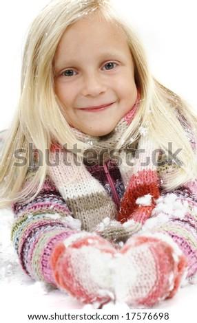 Child in snow - stock photo