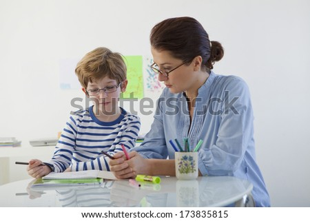 Child In Speech Therapy - stock photo