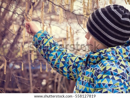 Child in spring nature exploring catkins in his hands.