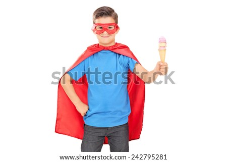 Child in superhero outfit holding an ice cream isolated on white background - stock photo
