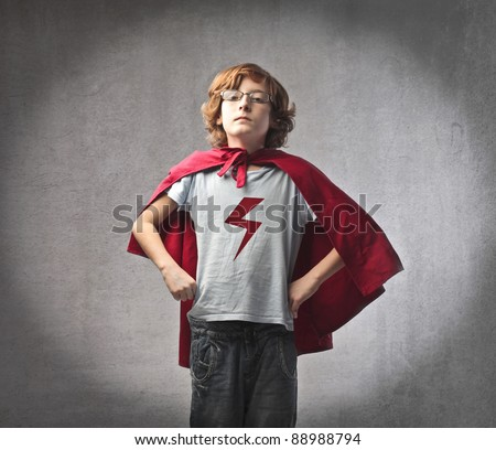 Child in superhero suit - stock photo