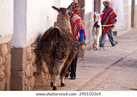 Child in traditional clothes with lama walking  Cuzco street - Peru - stock photo