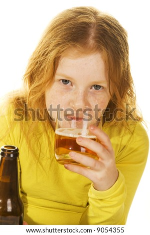 child is drinking alcohol - stock photo