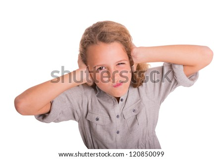 Child is frustrated by the noise - stock photo