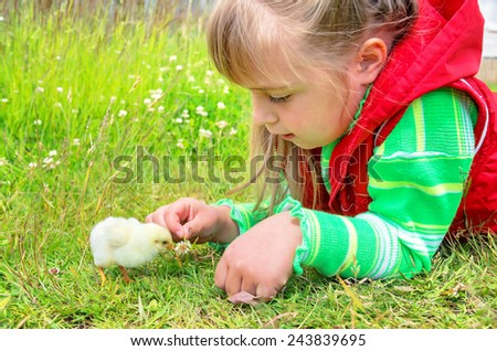 Child is lying in the grass with a small chicken - stock photo