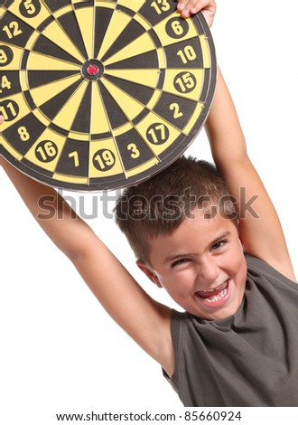 child is playing darts isolated on white - stock photo