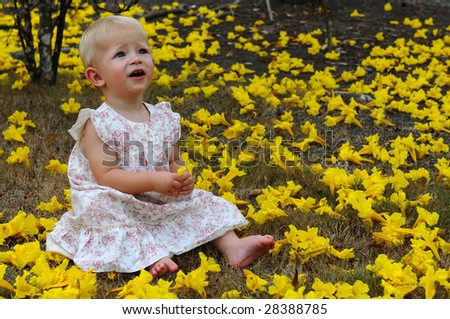 Child is sitting in the yellow flowers - stock photo