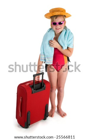 child is traveling for vacation - stock photo