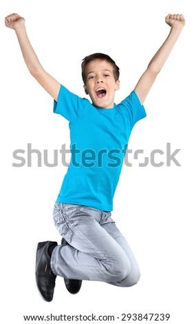 Child, kids, jump. - stock photo