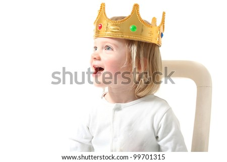 child king with crown isolated on white. Happy toddler with royal head gear smiling having fun - stock photo