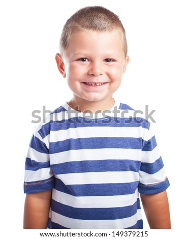 child laughing with stripes blue and white on a white background - stock photo