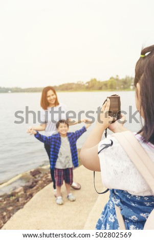 child learning use camera. - photography