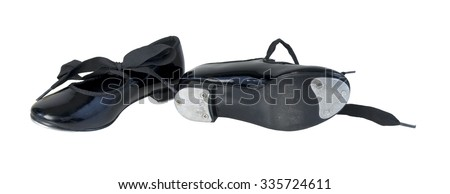Child Leather tap shoes worn when performing tap dancing - path included - stock photo