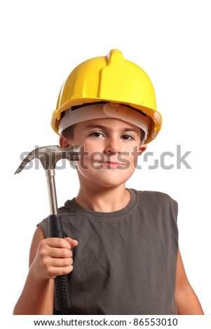 child little carpenter on white background - stock photo