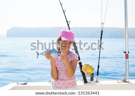 Happy tuna fisherwomen kid girls on stock photo 189837746 for Little kid fishing pole