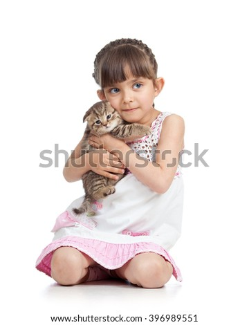 Child little girl hugging kitten. isolated on white background - stock photo