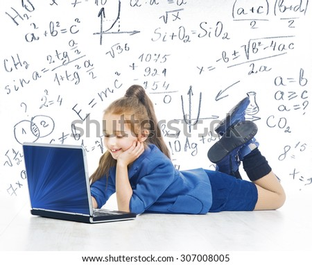 Child Looking at Laptop, Kid with Computer, Little Girl and Notebook, Mathematics Formula, School Education - stock photo
