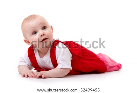 child looking isolated on white - stock photo
