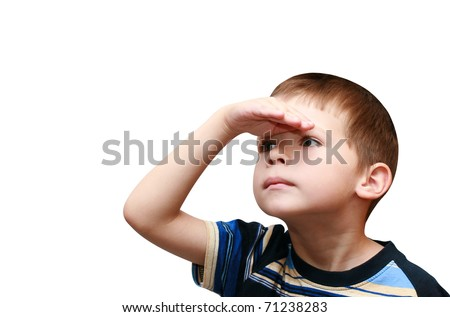 child looks forward - stock photo