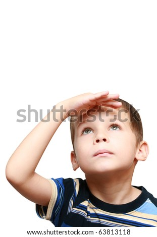 child looks up - stock photo
