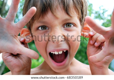 child making faces