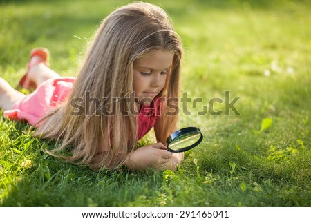 Child, Nature, Discovery. - stock photo