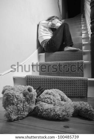 Child neglect - stock photo