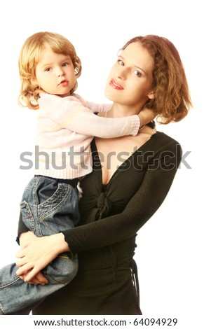 Child on mother hands. Pretty child girl daughter 3 years old is on the mother's hands. Isolated on white. - stock photo