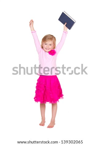 Child or girl holding book above head isolated on white background - stock photo