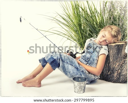 Child or young girl taking a nap or sleeping while fishing, painterly style with vintage filter applied. - stock photo
