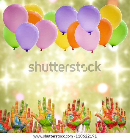 Child painted hands and balloons happy birthday party - stock photo