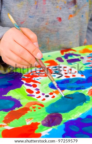 Child Painting - stock photo